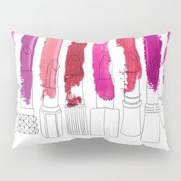 Lipstick Stripes - Floral Fuschia Red Pillow Sham