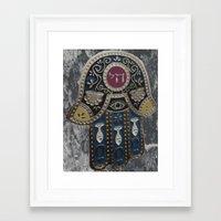 jewish Framed Art Prints featuring Jewish Hamsa by Debra Slonim Art & Design