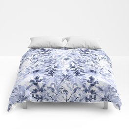 Watercolor grey floral hand paint Comforters