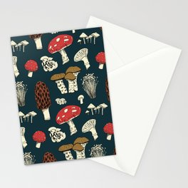 Mushroom Medley in Dark Teal Stationery Cards