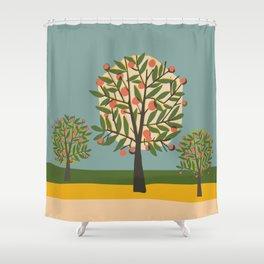 Fruit Trees - retro mid century Scandi print Shower Curtain