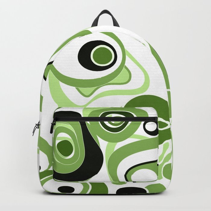 Abstract pattern . Black and green circles and rings on a white background . Backpack