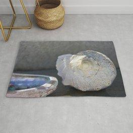 White Nautilus Seashell with Abalone  Rug