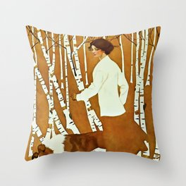 Coles Phillips 'Fadeaway Girl' A Walk in the Woods Throw Pillow
