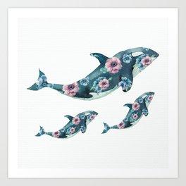 Rose Garden Whales Art Print