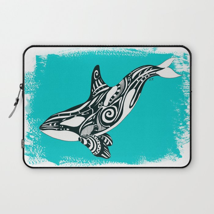 6d9efa497 Orca Killer Whale Teal Tribal Tattoo Laptop Sleeve by eveystudios | Society6
