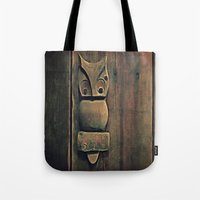 wooden Tote Bags featuring Wooden Owl by Dorothy Pinder