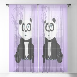 Panda Girl - Purple Sheer Curtain