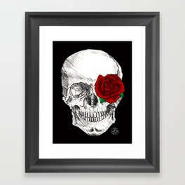 Rose Skull Black Framed Art Print