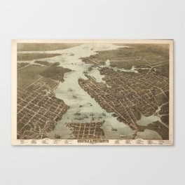 Vintage Map of Norfolk and Portsmouth VA (1873) Canvas Print