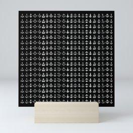 black and white anchor Mini Art Print