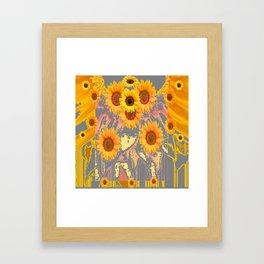 MODERN ART YELLOW SUNFLOWERS  GREY ABSTRACT Framed Art Print