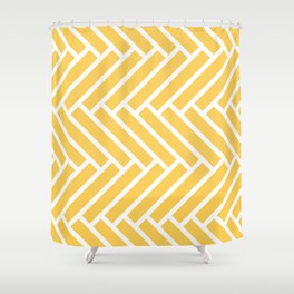 Yellow and white herringbone pattern Shower Curtain