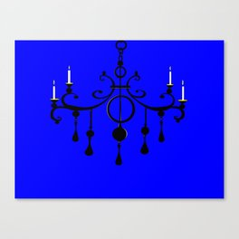 A Chandler with Candles and a Blue Background Canvas Print