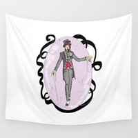 mad hatter Wall Tapestries featuring The Mad Hatter by Anca Avram
