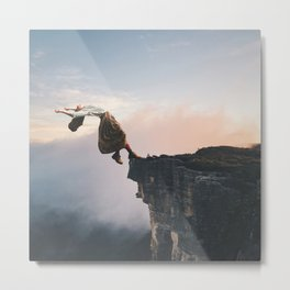 Up in the Clouds-Surreal Levitation Off a Cliff Metal Print
