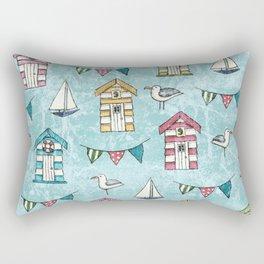 Beach Huts and Gulls Rectangular Pillow