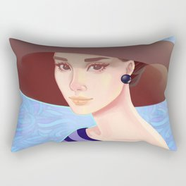 Girl in a hat at sea Rectangular Pillow