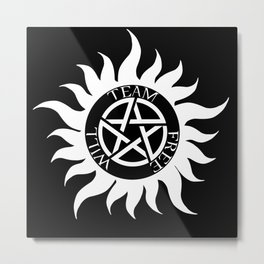 Team Free Will Anti-Possession Symbol - Supernatural (White) Metal Print
