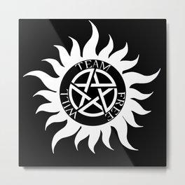 Team Free Will Anti-Possession Symbol - Supernatural (White) Metal Print