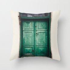 Green old door Throw Pillow