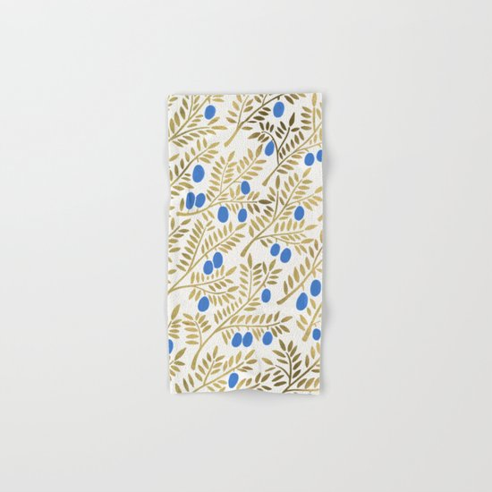 Olive Branches – Gold & Blue Hand & Bath Towel