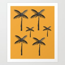 Design palms exotic on gold Art Print