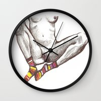 socks Wall Clocks featuring Socks by MadmFia