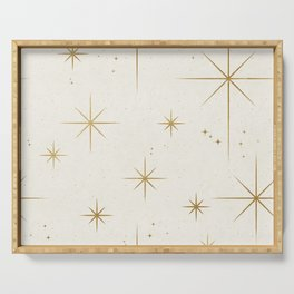Seamless Pattern Glamorous White Gold Art Deco Stars Constellations Minimalist Geometric Pattern Serving Tray