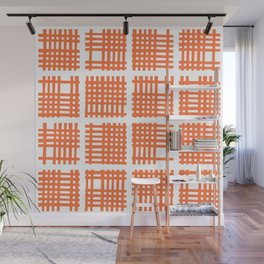 Mid Century Modern Abstract Squares Orange Wall Mural