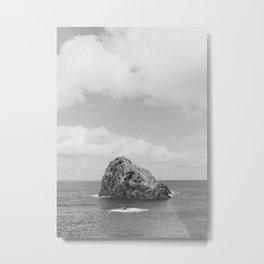 Seaside of Madeira | rocks in the big ocean of Portugal | simplistic vintage photography print Metal Print