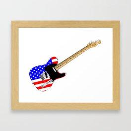 Stars And Stripes Guitar Framed Art Print
