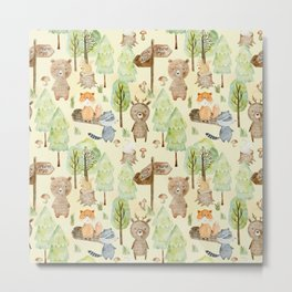 Follow Your Dreams - Little Wild Animals In Forest Metal Print