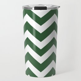 Hunter green - green color - Zigzag Chevron Pattern Travel Mug
