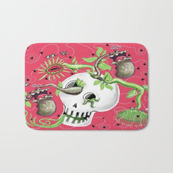 Skull Cachepot with Carnivorous Plants Bath Mat