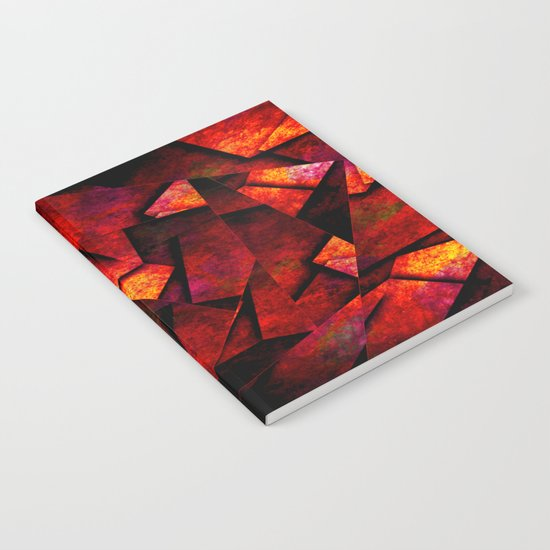 Fragments Of Fire - Abstract, geometric, fragmented pattern Notebook