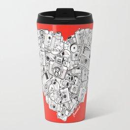 Camera Heart - on red Travel Mug