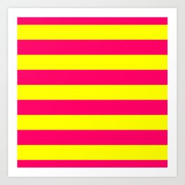 Bright Neon Pink and Yellow Horizontal Cabana Tent Stripes Art Print