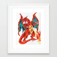 charizard Framed Art Prints featuring Charizard by Megan