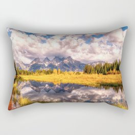 The Grand Tetons Range Reflection Rectangular Pillow