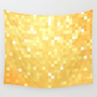 pixel Wall Tapestries featuring Golden pixeLs by 2sweet4words Designs
