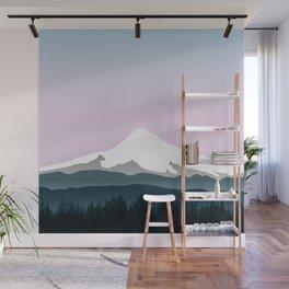 Mount Hood Forest - Pink Haze Wall Mural