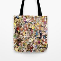 cartoon Tote Bags featuring Cartoon Collage by Myles Hunt