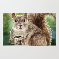squirrel Area & Throw Rugs featuring Squirrel by Anna Shell