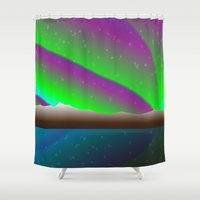 northern lights Shower Curtains featuring Northern lights by PADMA DESIGNS PR
