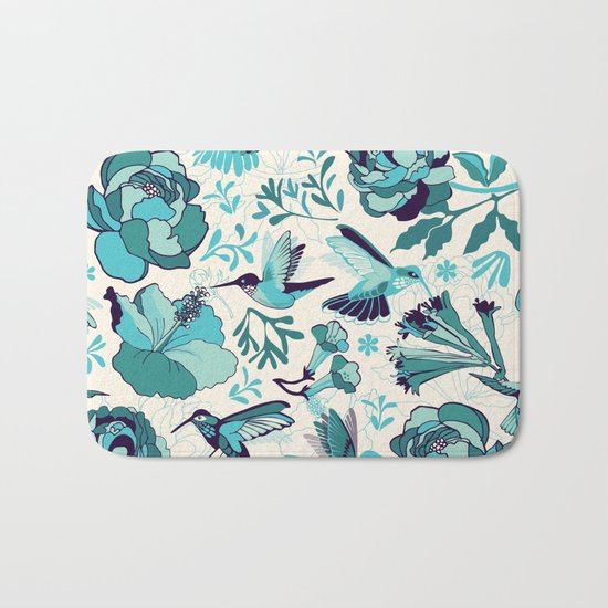 Hummingbird summerdance, Blue Bath Mat