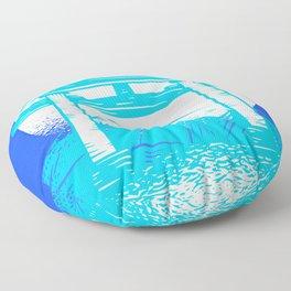 Happy Fuji - Bright Blue Color Floor Pillow