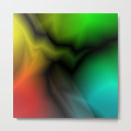 Neon space sparkling lightning from red zigzags and dark spots. Metal Print