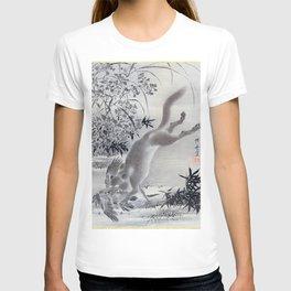 12,000pixel-500dpi - Kawanabe Kyosai - Fox Catching Bird - Digital Remastered Edition T-shirt