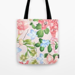 Watercolor Floral Collage in Blush Tote Bag